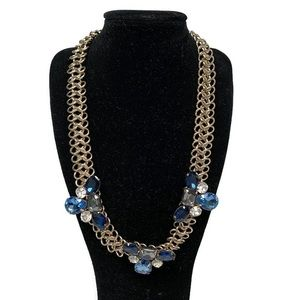 Chico's Blue Gold Floral Statement Necklace